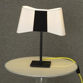 Lampe a poser couture blanc noir jaune h39cm designheure normal