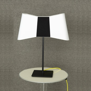 Lampe a poser couture blanc noir jaune h60cm designheure normal