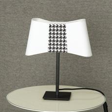 Lampe à poser, Couture, blanc, pied de poule, H39cm
