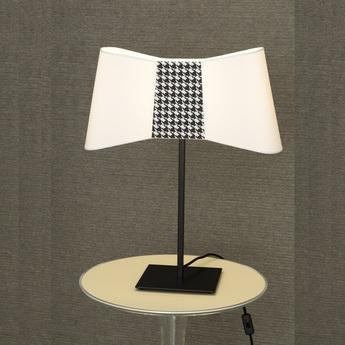 Lampe a poser couture blanc pied de poule h60cm designheure normal
