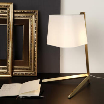Lampe a poser couture new blanc bronze l30 5cm h50cm contardi normal