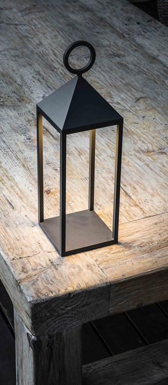 Lampe a poser d exterieur argus lampe portable gris ip54 led 3000k 200lm l14cm h47cm faro normal