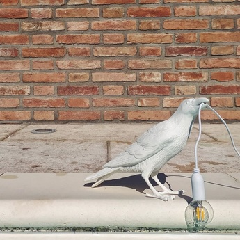 Lampe a poser d exterieur bird lamp waiting outdoor blanc l29 5cm h12cm seletti normal