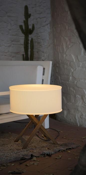 Lampe a poser d exterieur cala bois marron h60cm marset normal