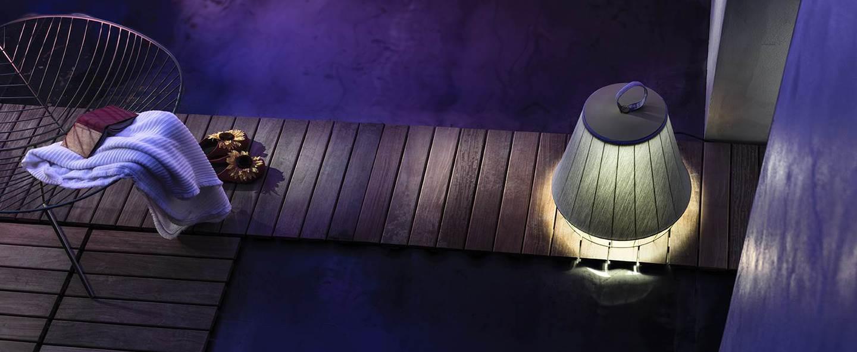 Lampe a poser d exterieur dress gris marron led o50cm h46 5cm torremato normal