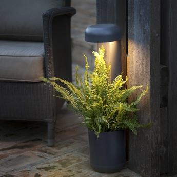 Lampe a poser d exterieur jardiniere grow noir h65cm led faro normal