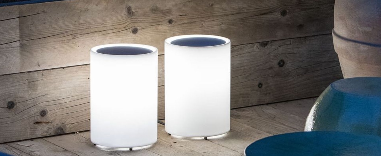 Lampe a poser d exterieur lenta blanc ip65 o21 2cm h30 7cm davide groppi normal