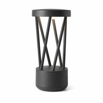Lampe a poser d exterieur twist gris fonce ip65 led 3000k 500lm o14 5cm h30cm faro normal