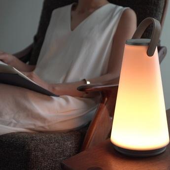 Lampe a poser d exterieur uma sound lantern blanc et argent ip51 led 2700k 190lm o15 4cm h35cm pablo normal