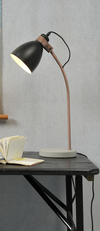 Lampe a poser denver noir cuivre h50cm o20cm it s about romi normal