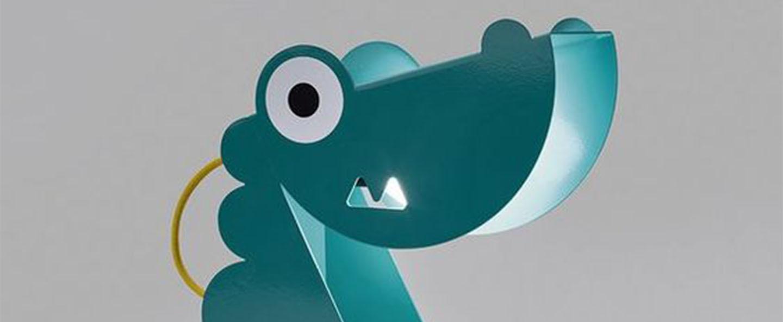 Lampe a poser dinosaure turquoise l24cm h22cm bleu carmin design normal