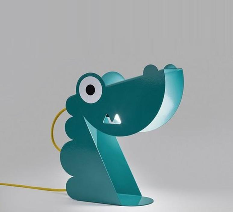 Lampe à poser, Dinosaure, turquoise, L24cm, H22cm Bleu Carmin Design