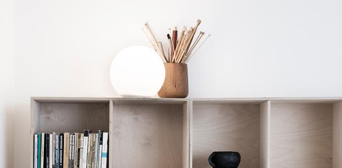 Lampe a poser dioscuri blanc ip44 o14cm h13cm artemide normal