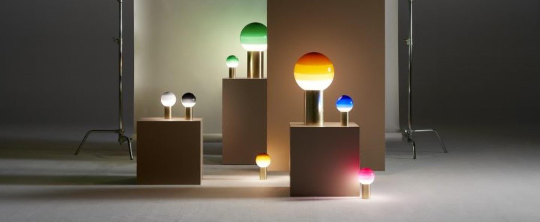 Lampe a poser dipping light blanc casse led o30cm h54cm marset normal