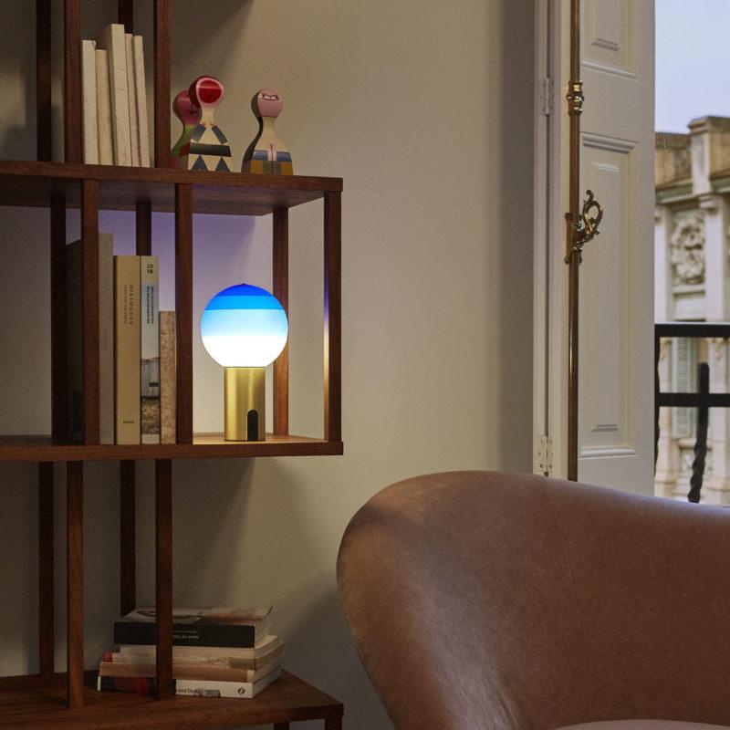 Table Lamp Dipping Light Portable Blue Brass Led K 240lm ø12 5cm H22 2cm Marset Nedgis Lighting