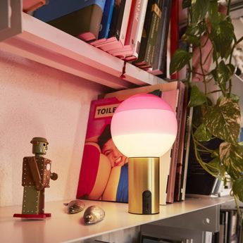 Lampe a poser dipping light portable rose laiton led k 240lm o12 5cm h22 2cm marset normal