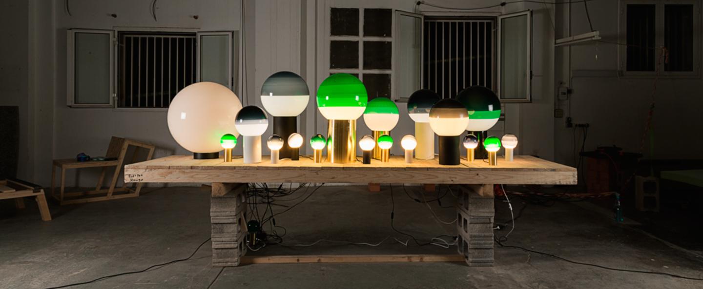 Lampe a poser dipping light vert led o12 5cm h22 2cm marset normal