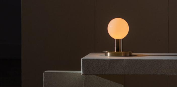 Lampe a poser dot 04 corps laiton cable noir o15cm h17cm lambert fils normal