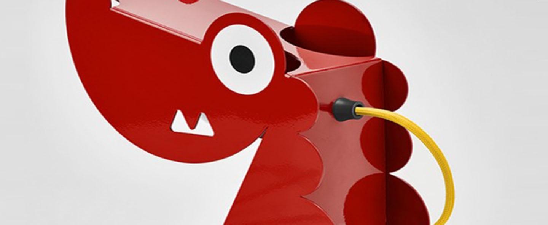 Lampe a poser dragon rouge l24cm h22cm bleu carmin design normal