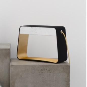 Lampe a poser eau de lumiere led noir or marbre blanc h28cm designheure normal