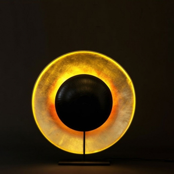 Lampe a poser eclipse noir et or l62cm h71cm celine wright normal