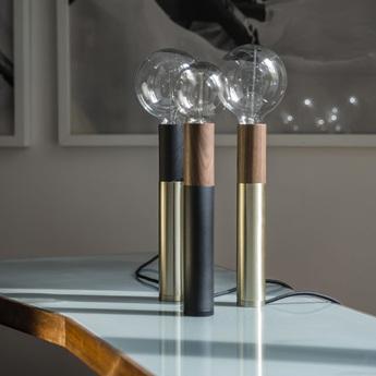 Lampe a poser ed030 noir bois o6cm h45cm edizioni normal