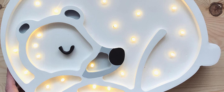 Lampe a poser enfant bear blanc led k lm l36cm h26cm little lights normal
