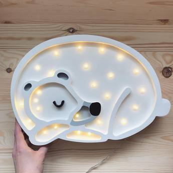 Lampe a poser enfant bear blanc led k lm l36cm h26cm little lights normal