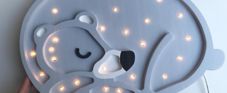 Lampe a poser enfant bear gris led k lm l36cm h26cm little lights normal
