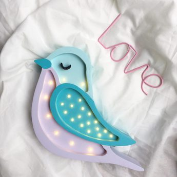 Lampe a poser enfant bird violet clair l30cm h36cm little lights normal