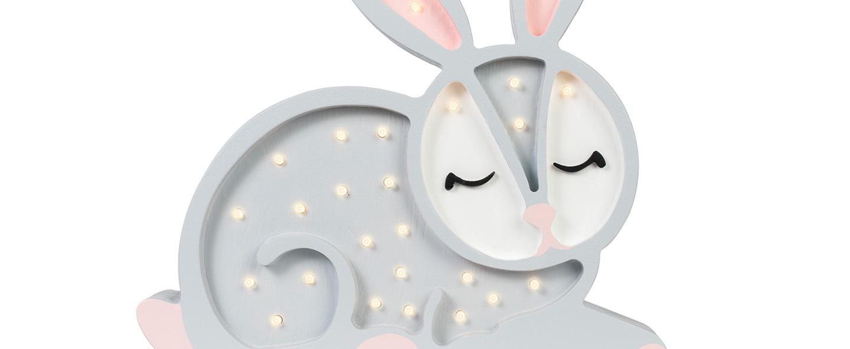 Lampe a poser enfant bunny gris clair l34cm h33cm little lights normal