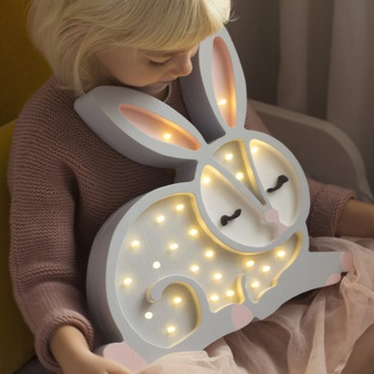 Lampe a poser enfant bunny gris clair l34cm h33cm little lights normal