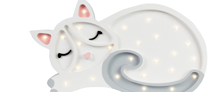 Lampe a poser enfant cat blanc l33cm h23cm little lights normal