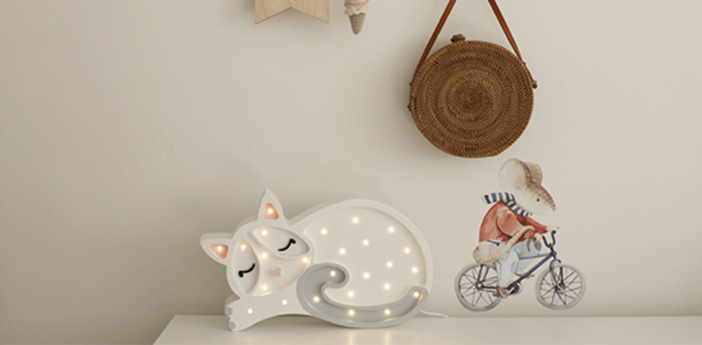 Lampe a poser enfant cat blanc l33cm h23cm little lights normal