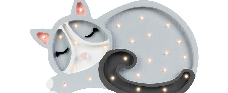 Lampe a poser enfant cat gris clair l33cm h23cm little lights normal