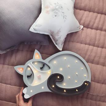 Lampe a poser enfant cat gris clair l33cm h23cm little lights normal