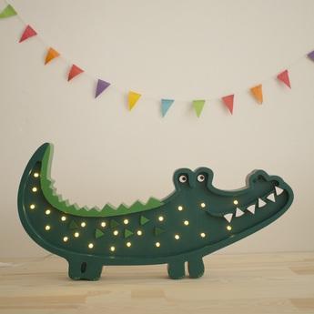Lampe a poser enfant crocodile papkin green led k lm l49cm h23cm little lights normal