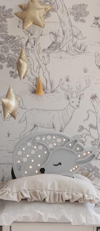 Lampe a poser enfant deer gris clair l37cm h19cm little lights normal