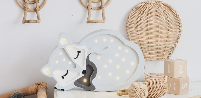 Lampe a poser enfant fox gris l31cm h19cm little lights normal