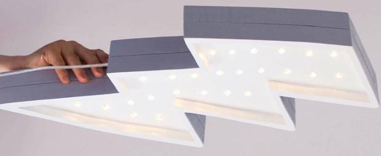 Lampe a poser enfant lightning bolt blanc l42cm h20cm little lights normal