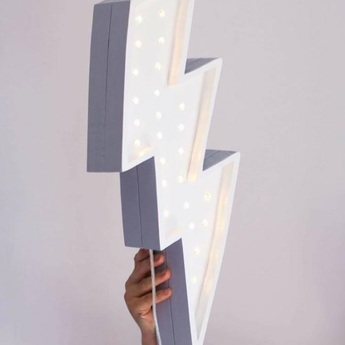 Lampe a poser enfant lightning bolt blanc l42cm h20cm little lights normal