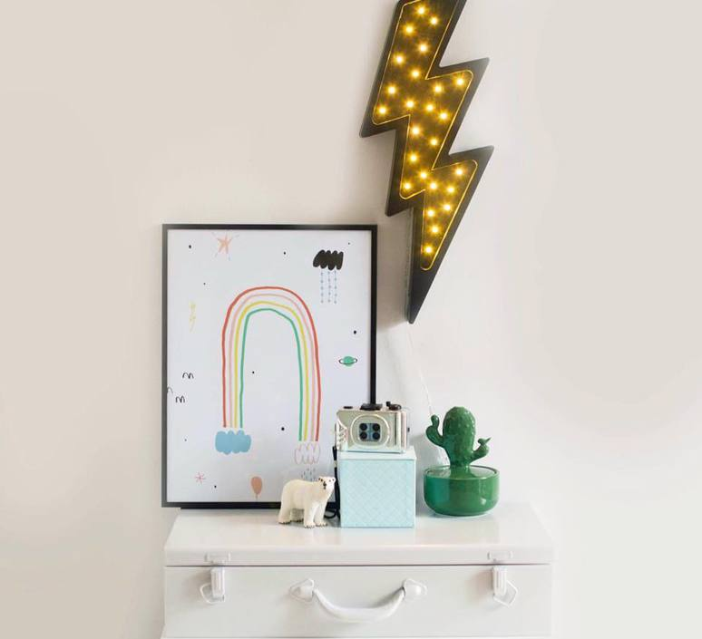 Lightning bolt studio little lights lampe a poser enfant kids table lamp  little lights lightningbolt black  design signed nedgis 73645 product