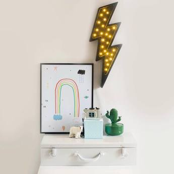 Lampe a poser enfant lightning bolt noir l42cm h20cm little lights normal
