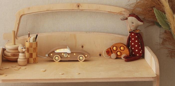 Lampe a poser enfant little lights race car mini capuccino led k lm l25cm h10cm little lights normal