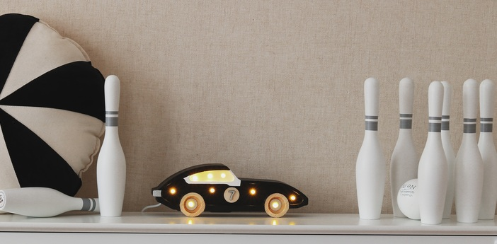 Lampe a poser enfant little lights race car mini noir led k lm l25cm h10cm little lights normal