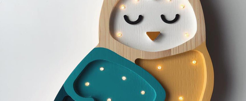 Lampe a poser enfant owl moutarde l40cm h25cm little lights normal