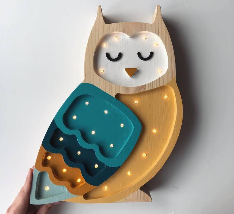 Owl studio little lights lampe a poser enfant kids table lamp  little lights owl mustard  design signed nedgis 73354 product