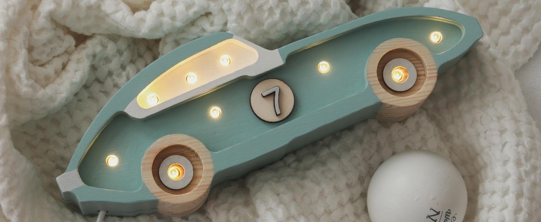 Lampe a poser enfant race car mini lamp retroblue led k lm l25cm h10cm little lights normal