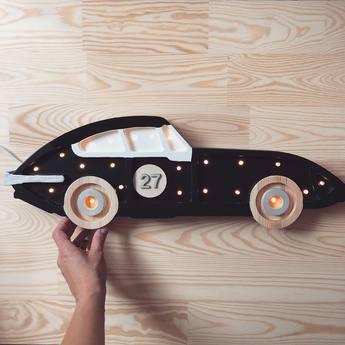 Lampe a poser enfant race car noir et blanc l58cm h15cm little lights normal