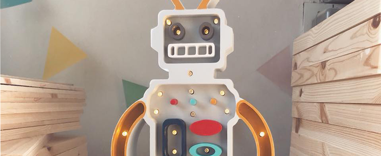 Lampe a poser enfant robot moutarde gris l38cm h22cm little lights normal